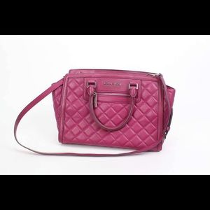 Michael Kors Magenta Quilted Leather Selma